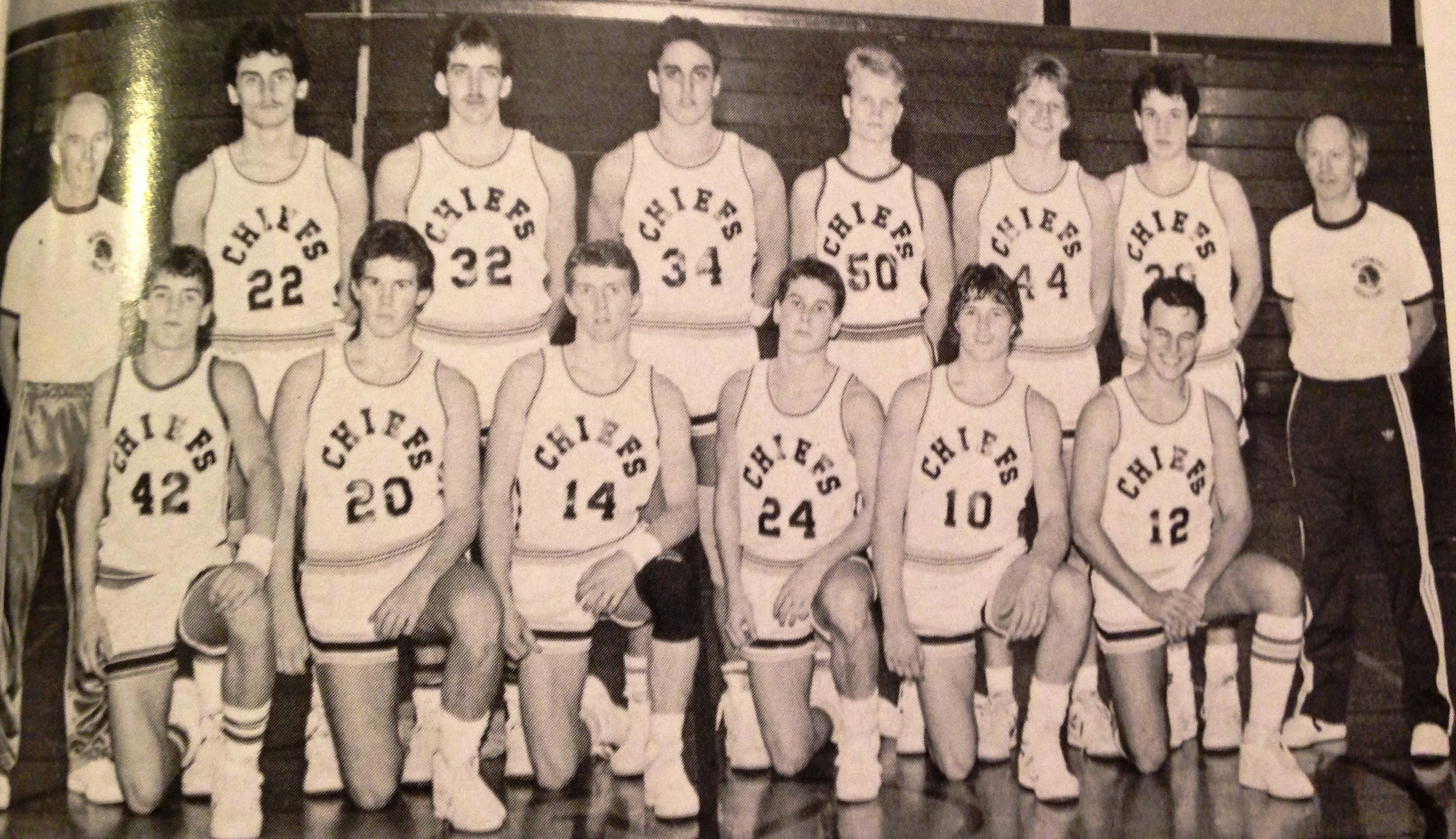 Top Row: Coach Phil Hull, Kevin Kelly, Jon Huber, Keith Coleman, Jamey Clark, Eric Knowles, Mike Brunelle; Bottom Row: Blair Eastman, John Roberts, Dan Baker, Matt Evans, Tom Dodds, Arturo Martinez