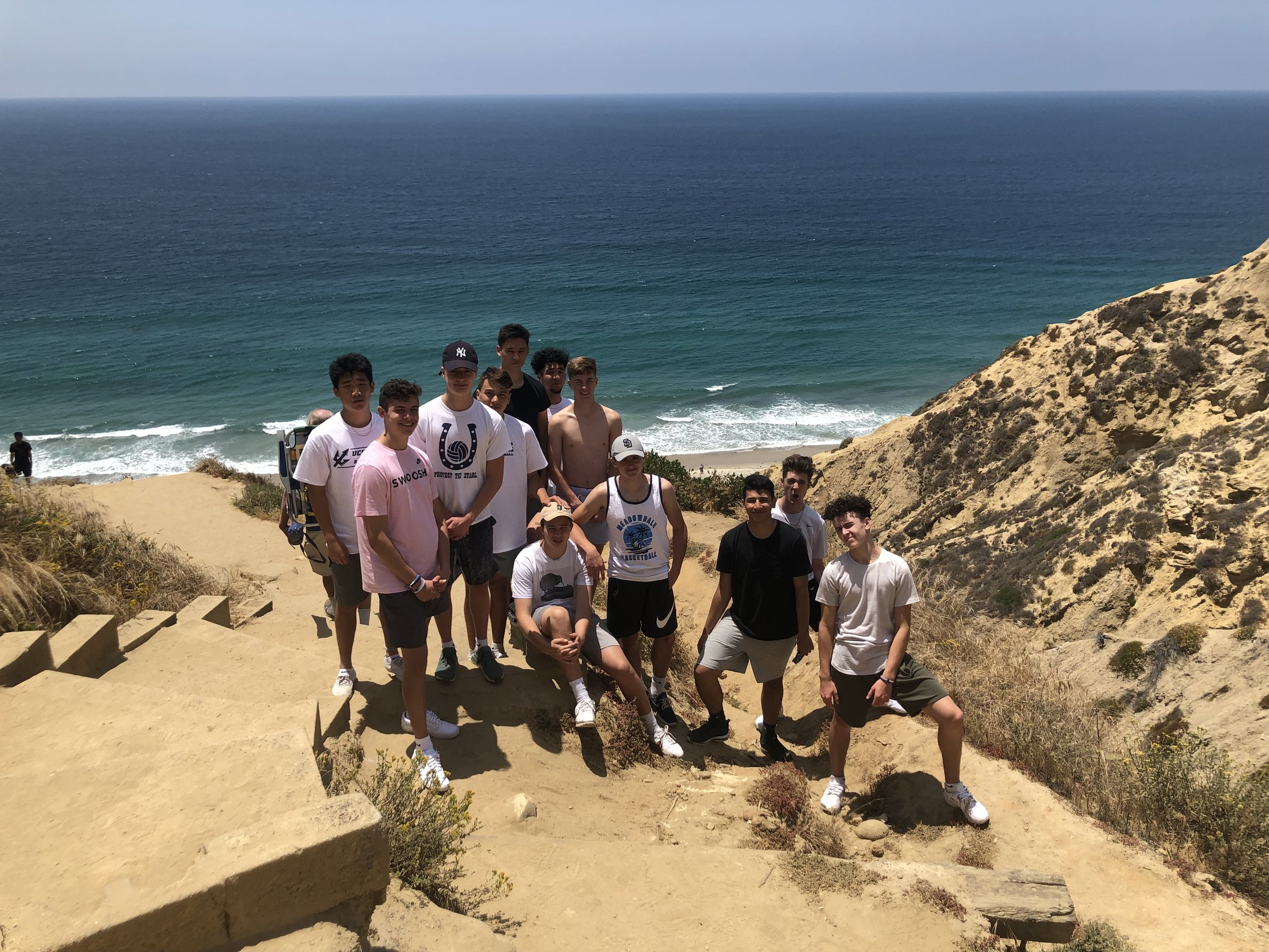 SUN: Great view at Black's Beach in La Jolla while Coach Streit goes Hang-Gliding