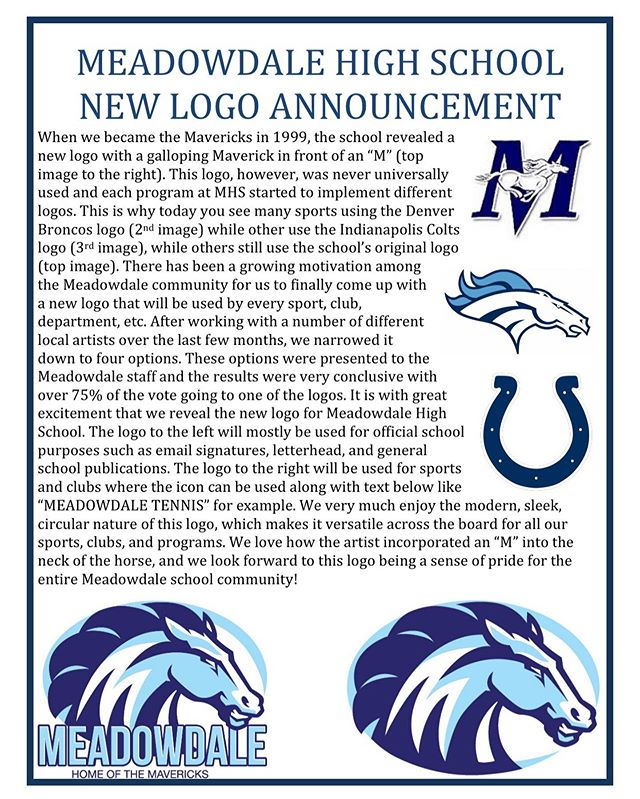 Pumped that MHS decided to get a new logo! #NoMoreBroncos