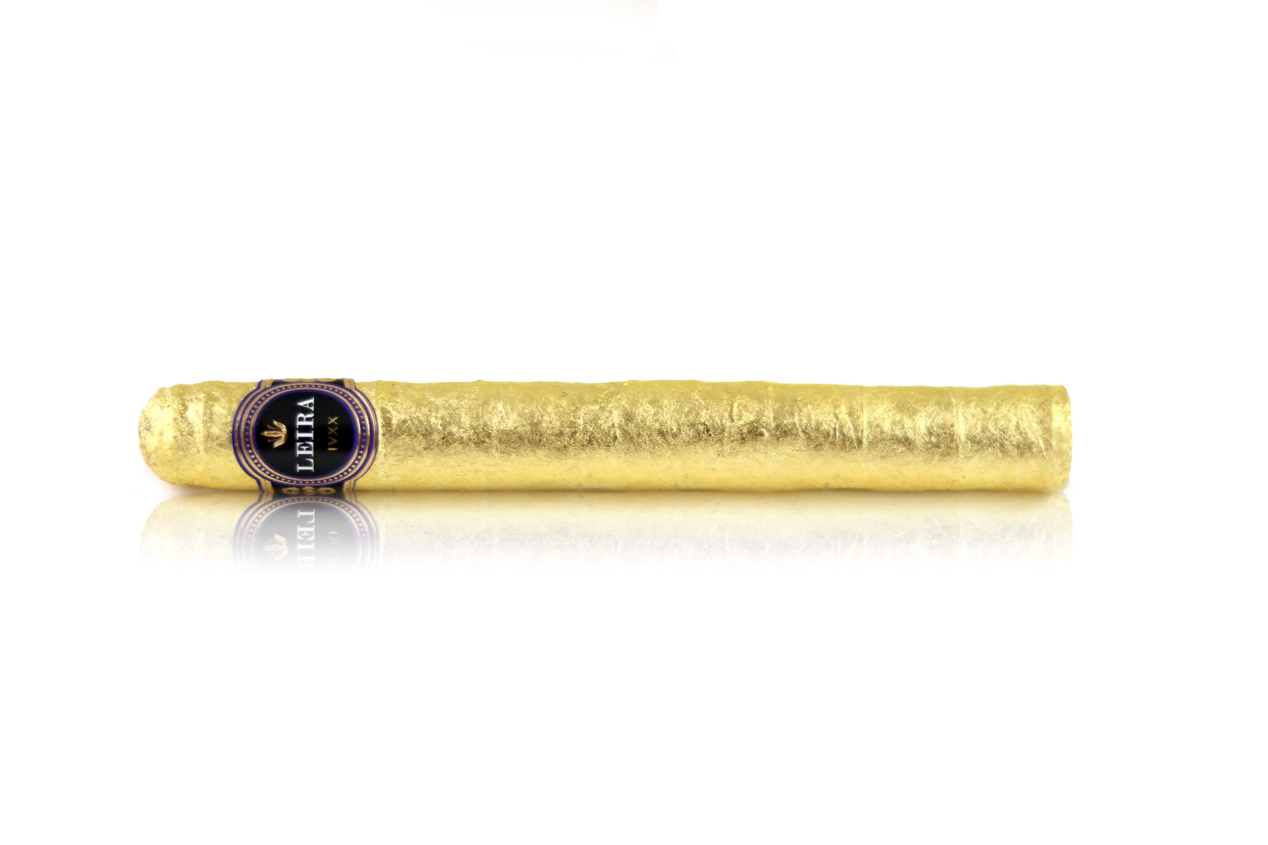 24k Gold Leaf Wrapped Corona  Ring Gauge: 42 Length: 6 inches Flower: 12g Estimated Flight Time: 2-3 hours Retail Value: $1000  **Prices may vary depending on the local market.