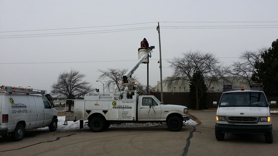 We are an all Ford fleet now. Bucket truck to serve all your lighting needs.