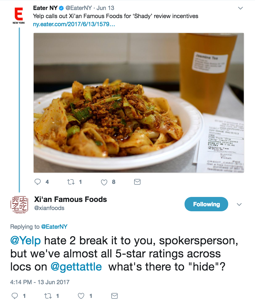 Feel free to review the rest of the Eater article here:   https://ny.eater.com/2017/6/13/15794212/xian-famous-foods-yelp-review-incentives