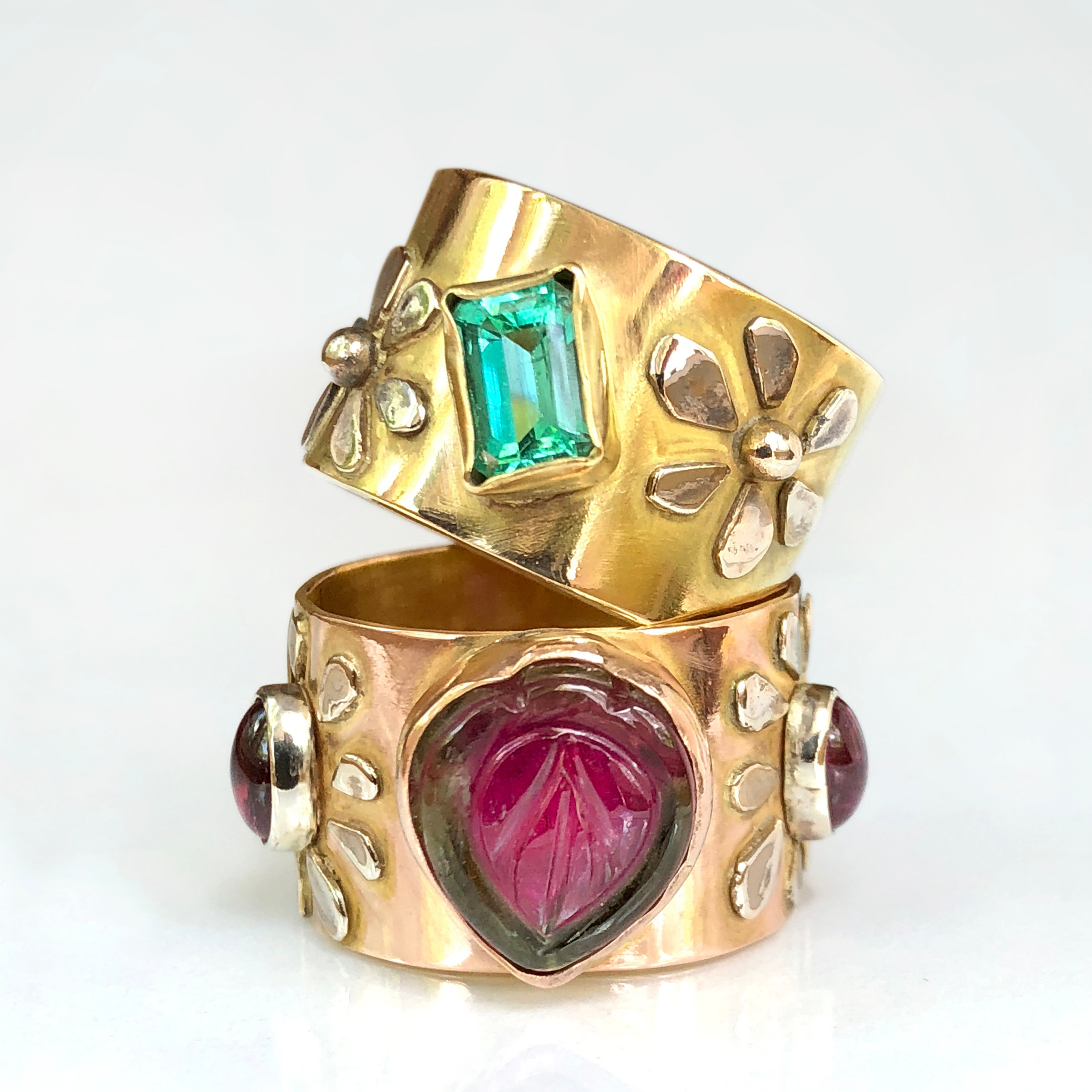 Emerald and watermelon tourmaline Wide band rings - 14K Solid Gold