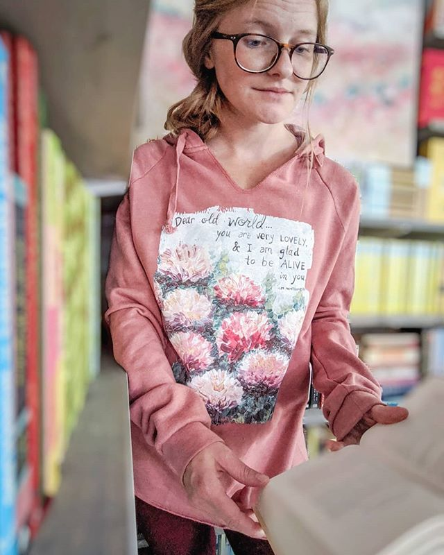 """Dear old world, you are very lovely and I am glad to be alive in you."" . . Dear Old World Hoodie on dusty rose is coming to the shop tomorrow, September 18th at 10am CST! This is the perfect fall weather attire.  I will be revealing the other new sweatshirt soon, so stay tuned! . . . . . . #fallfashion #fallreading #fallwhereyouat #falliscoming #fallreads #autumnvibes🍁 #anneofgreengables #lmmontgomery #sweetbookishandanne #libraryselfie #librarylife #homelibrary #homebeautiful #homelibrarygoals #homeart #darlinghome #bookishhome #bookishlife #bookishart #bookishallure #bookstagram"