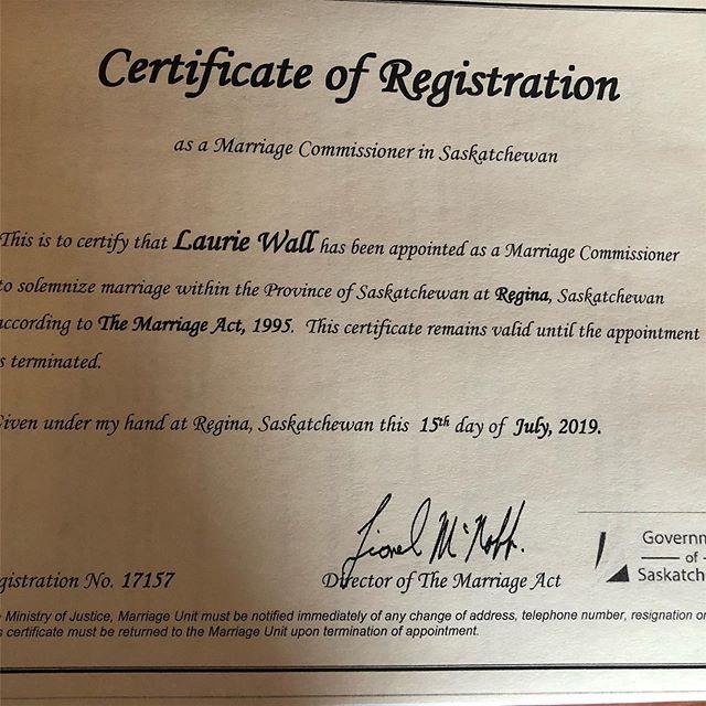 Rounding out my all-inclusive wedding package with this designation! #marriagecommissioner  #wallnuts #wallnutsallinclusiveweddings #saskatchewan #yqr #regina