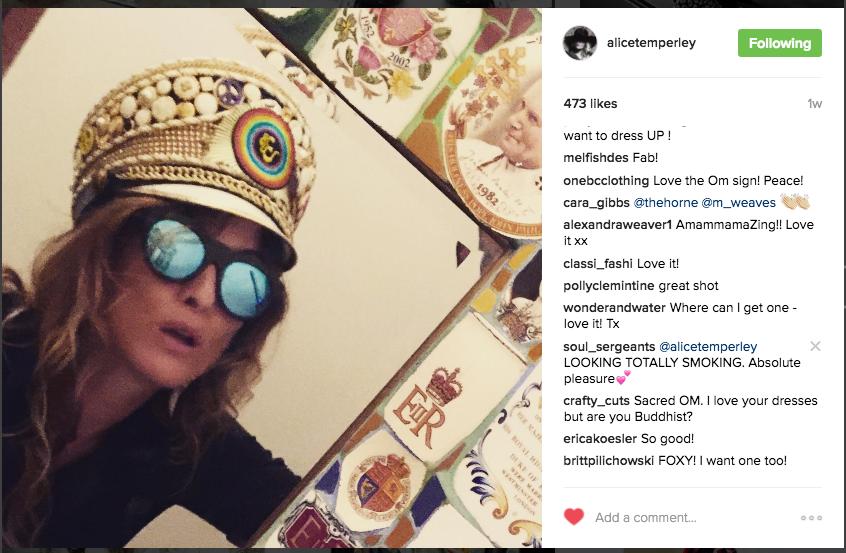ALICE TEMPERLEY-SERGEANT OHM SHANTI HAT-  INSTAGRAM-JULY 2016