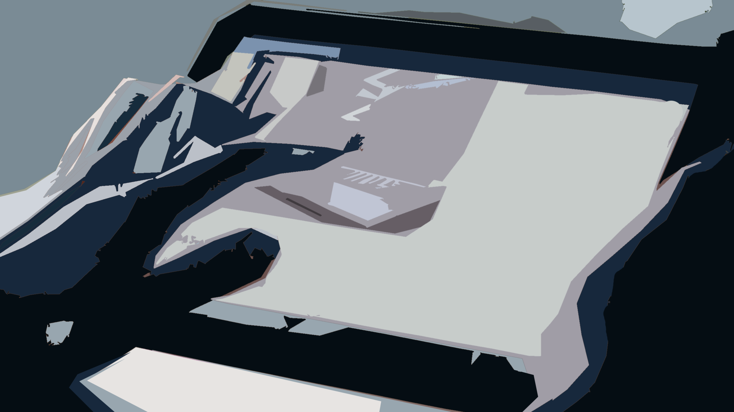 He grabs a large rectangular screen, so thin like paper, and starts to touch the metal body