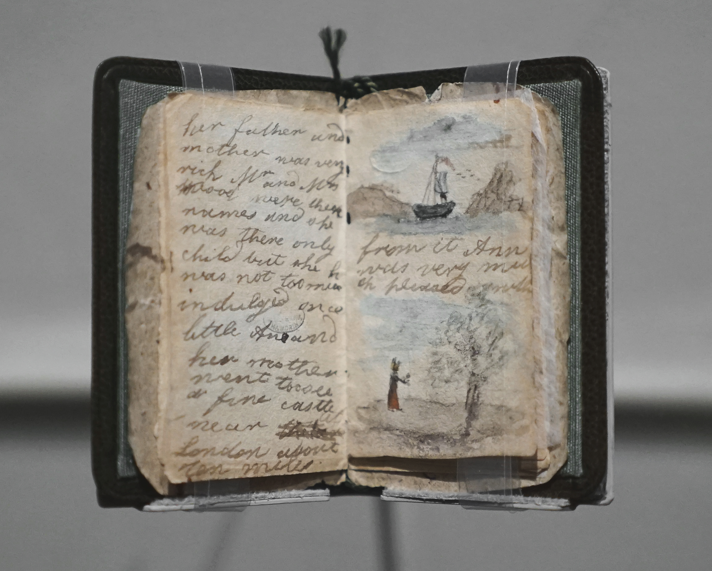 "This is the earliest surviving manuscript by Charlotte Brontë, a miniature handmade book of sixteen pages bound in a scrap of decorative wallpaper and illustrated with tiny watercolors circa 1858. (The leather folder was added later.) Charlotte was about twelve when she wrote the story for her sister Anne, who was four years younger. It describes a journey that begins with the child's visit to a splendid castle near London and ends, poignantly enough, as tends to her ailing mother ""with so much care."""
