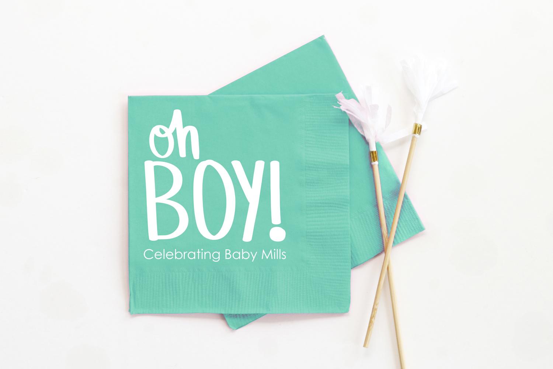 Oh Boy Baby Shower Decoration Napkins-Baby Boy Shower Napkins.
