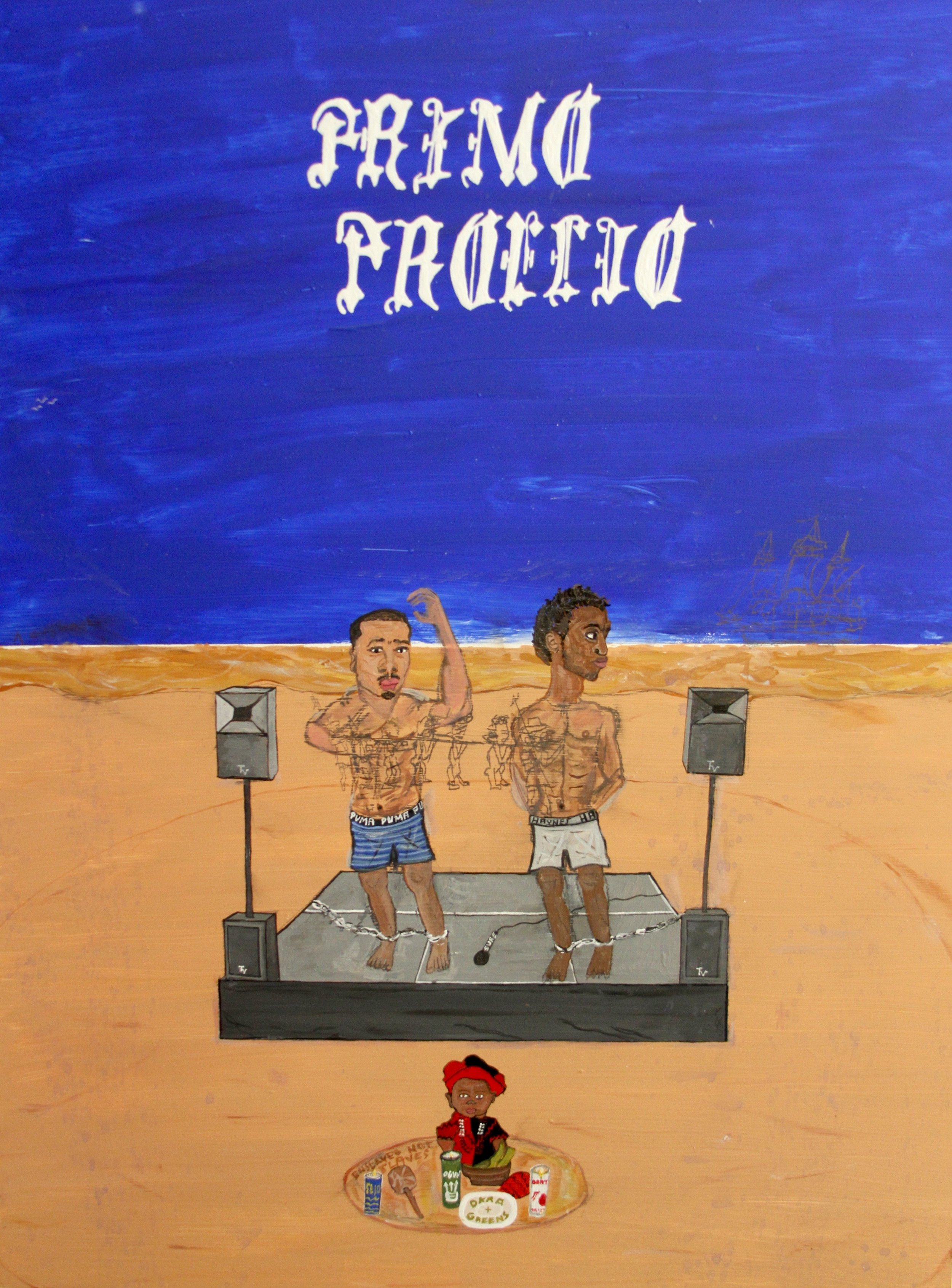 The First Battle (Primo Proelio) / 2017 / Acrylic, house paint and pencil on wood panel / 24 x 20 inches
