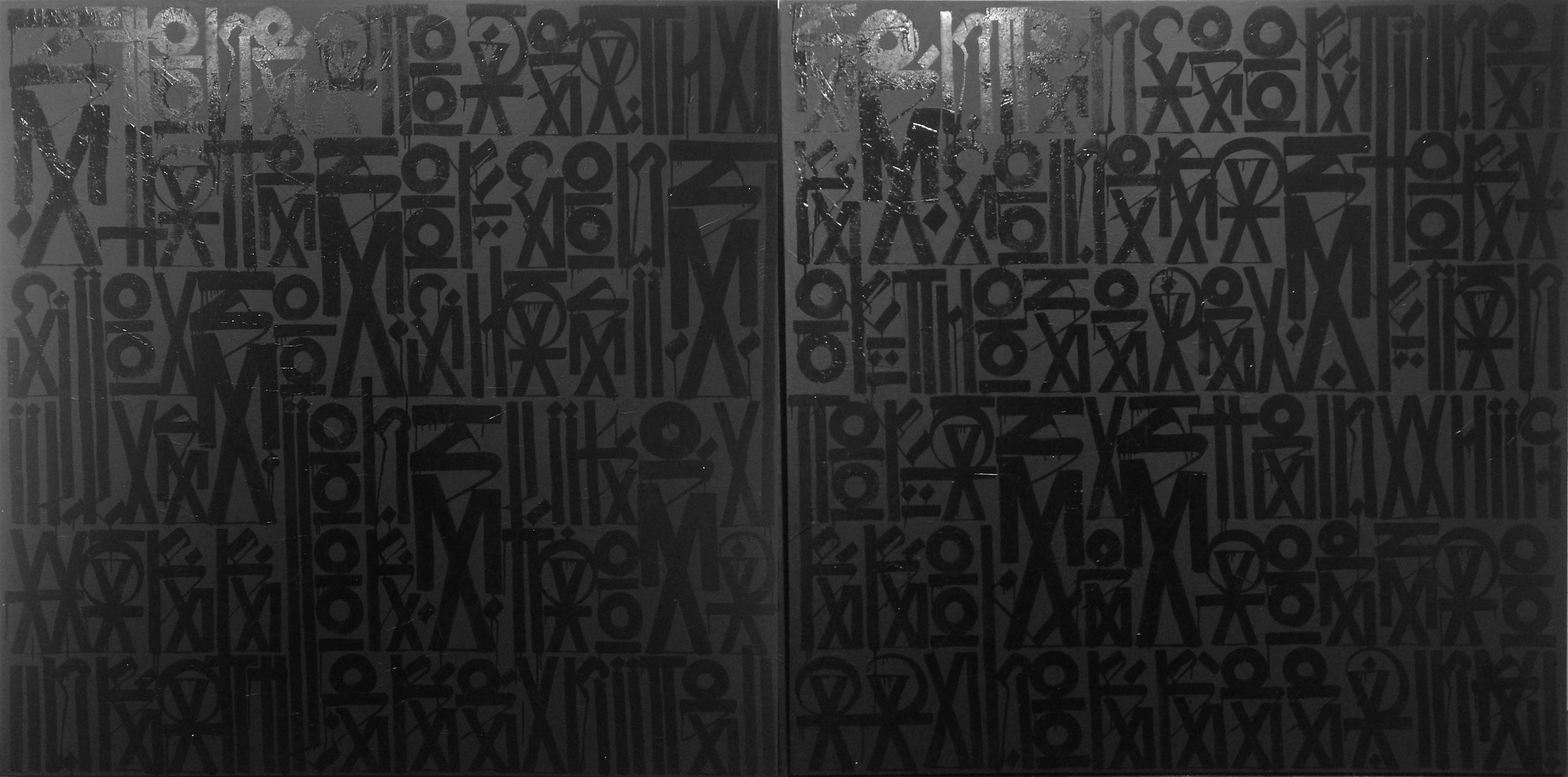 RETNA / Stoned To Death - State Of Conscious - Change Illusions - Like A Warrior - Staged In Battle - Reunited / 2010 / Acrylic and enamel on canvas (2 panels) / 72 x 144 inches