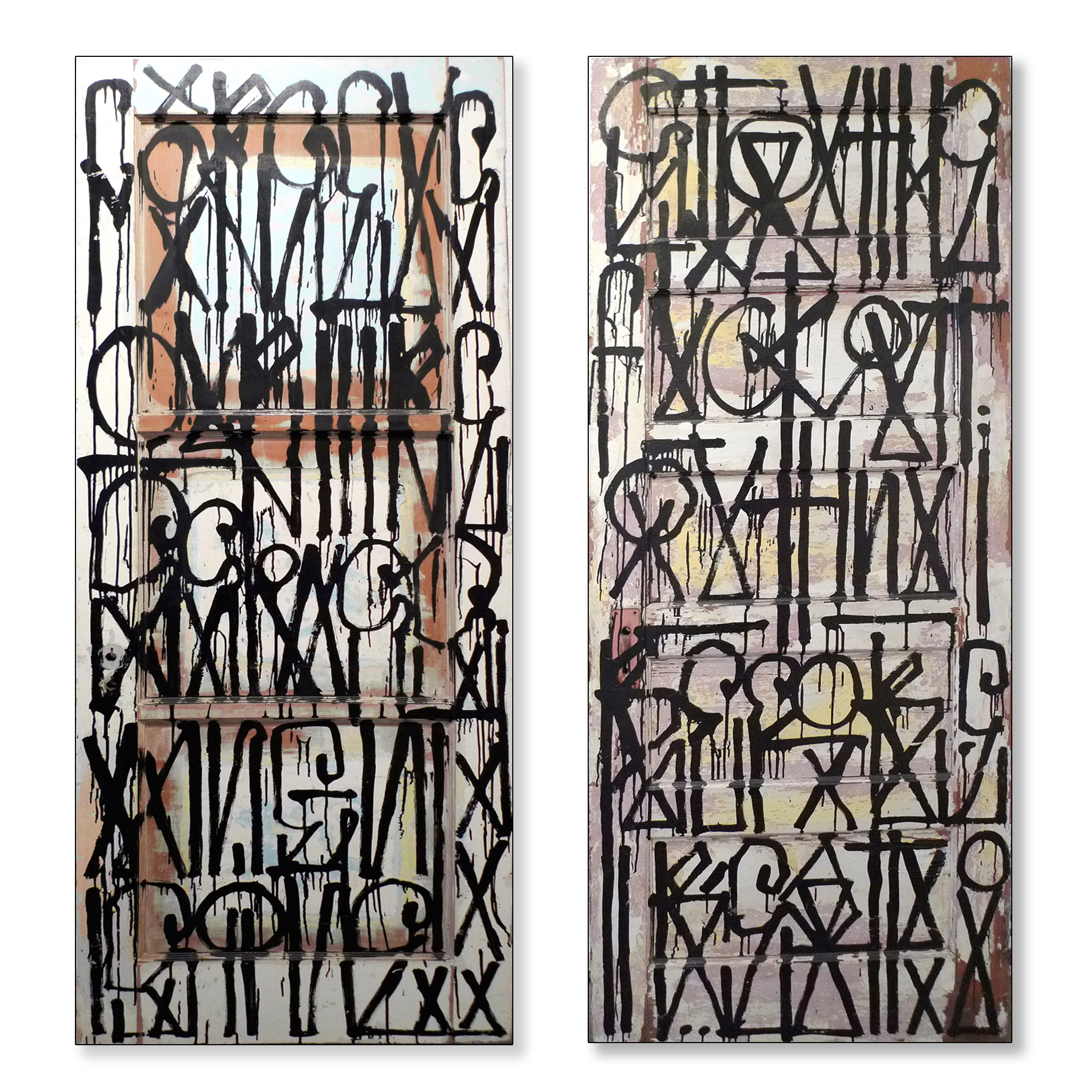 RETNA / Untitled / 2011 / Enamel on found doors (2 panels) / 98 x 60 inches
