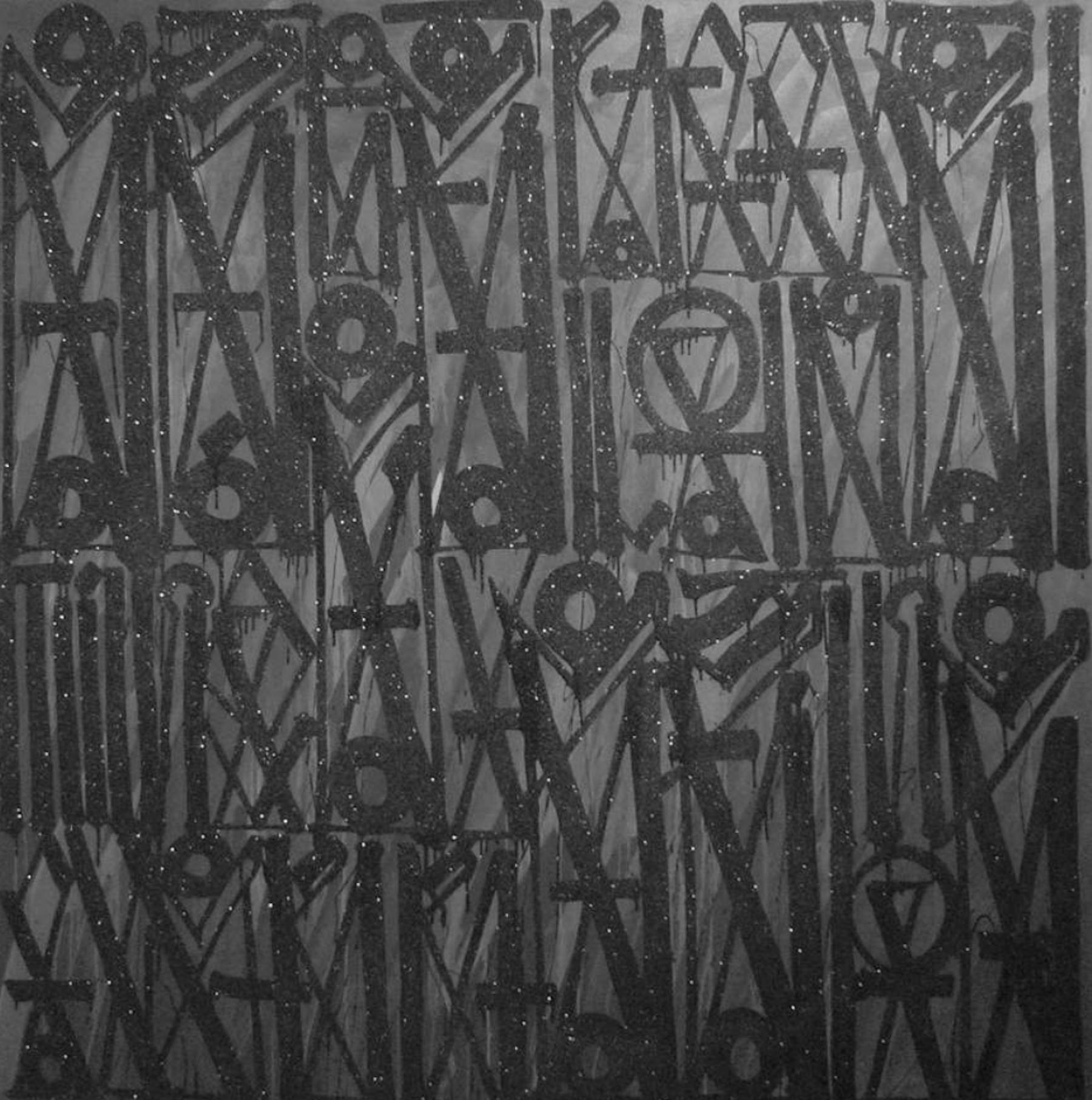 RETNA / Espero Que Va Ser La Ultima Ves Que Me Quebras / 2014 / Acrylic, enamel, and crystalline on canvas / 72 x 72 inches
