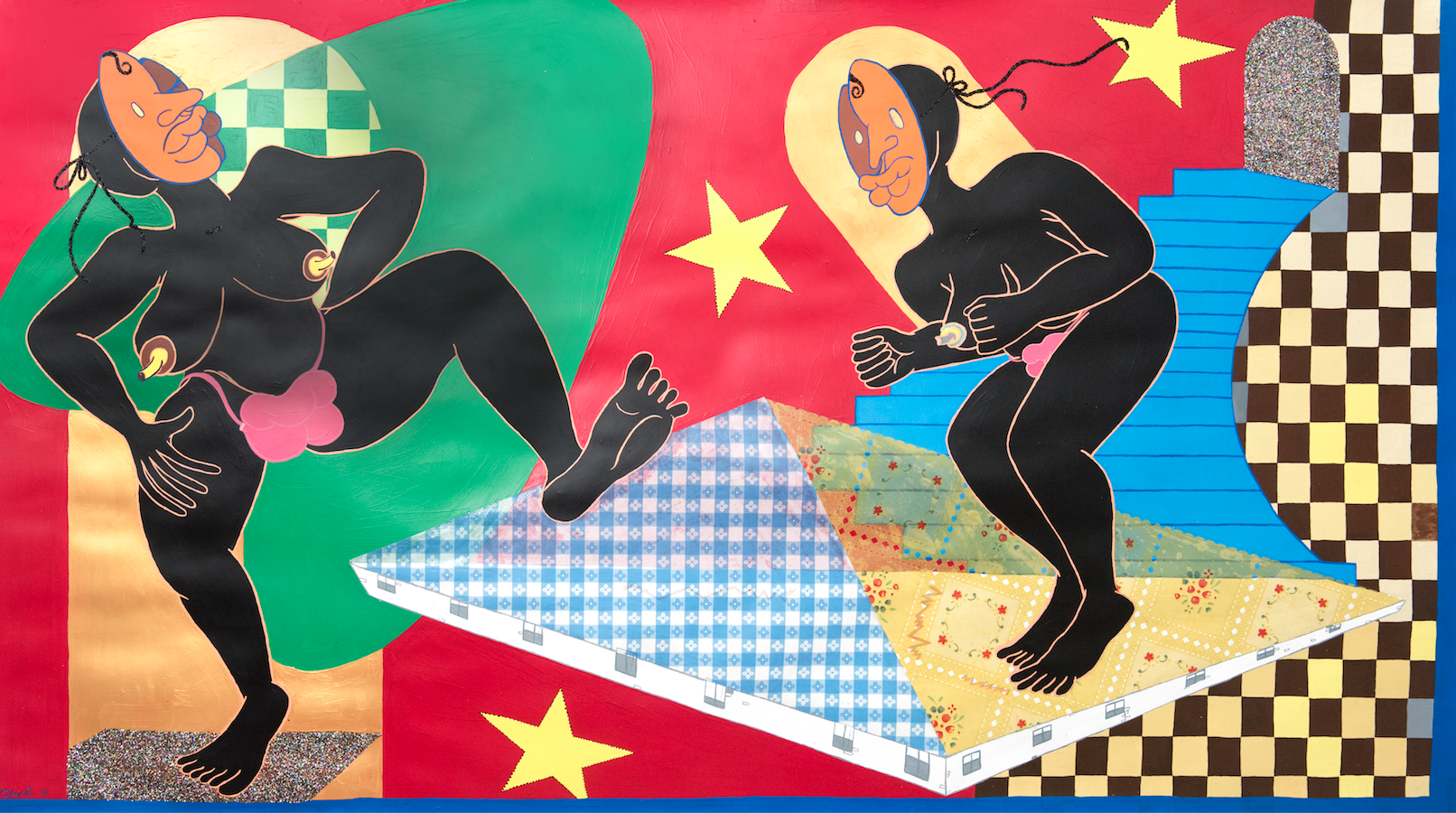 Dancing with the Stars / 2017 / Acrylic, glitter, pastel, and vinyl collage on paper / 42 x 77 inches