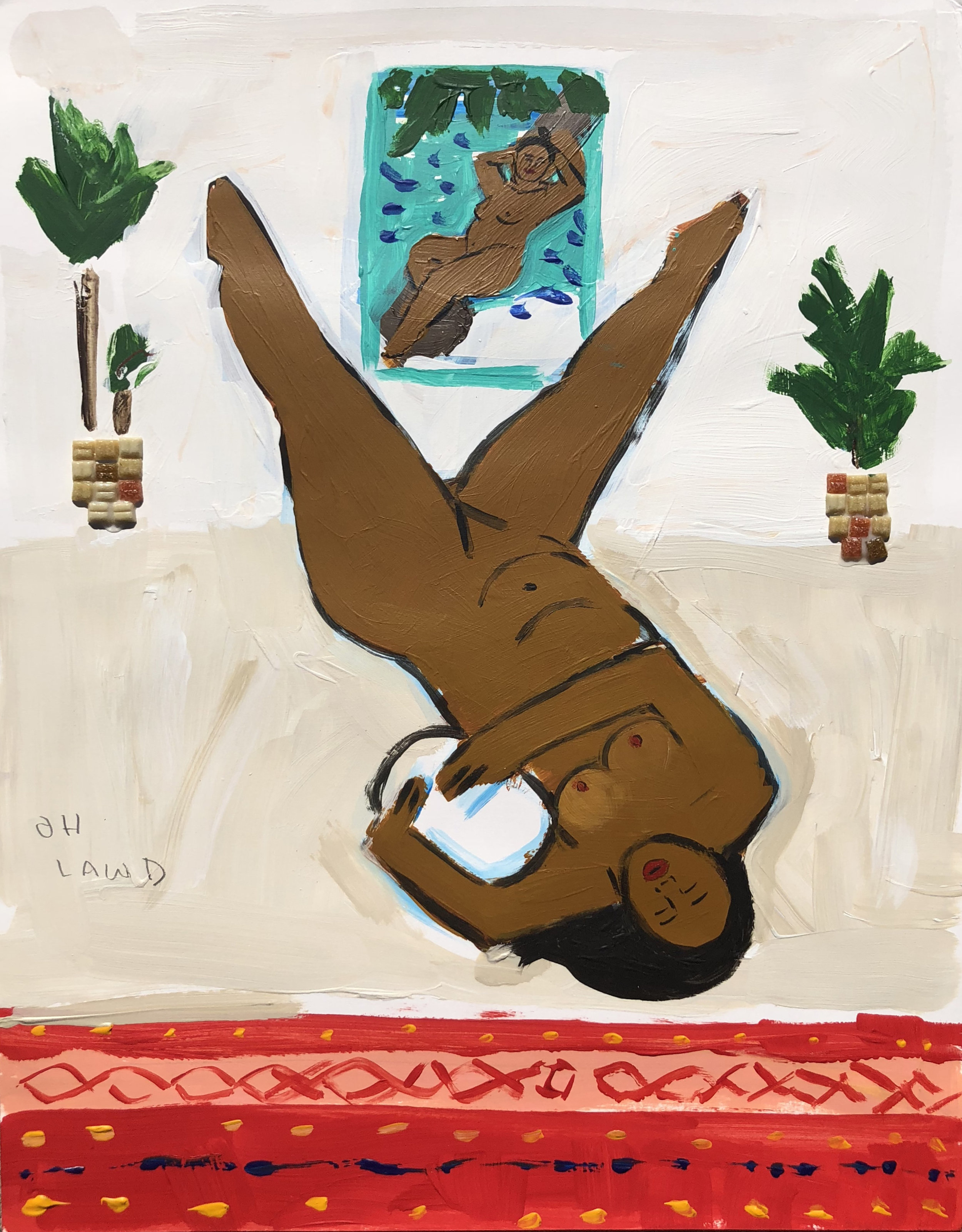 MONICA KIM GARZA / Leg Levitation / 2016 / Mixed media on paper / 24 x 18 inches