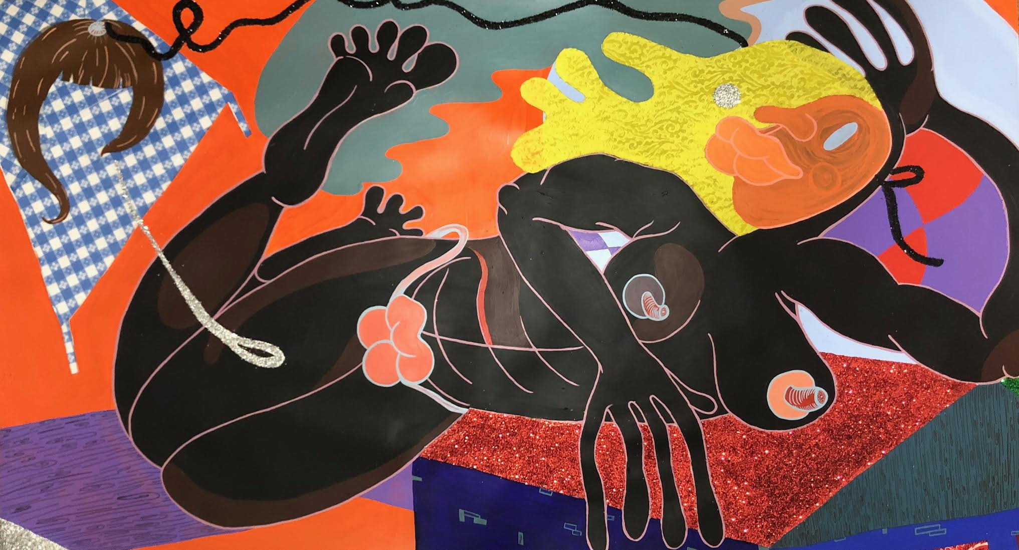 Reclining Woman (Wig Connection) / 2017 / Acrylic, glitter, vinyl and silk fabric collage on paper / 40 x 71 inches
