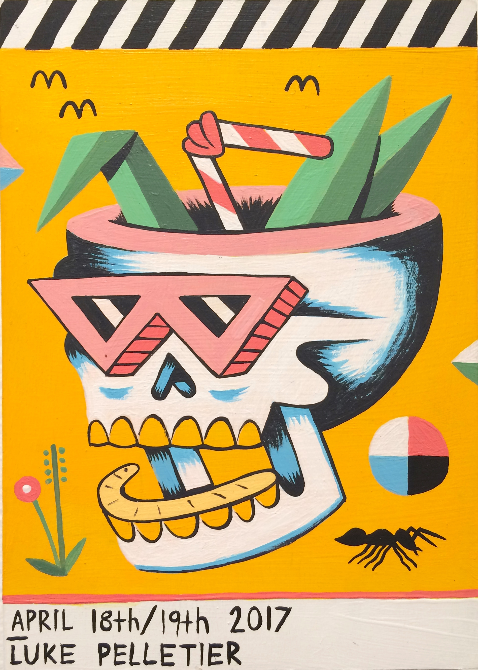Luke Pelletier / Skull Cocktail / 2017 / Acrylic on wood panel / 7 x 5 inches
