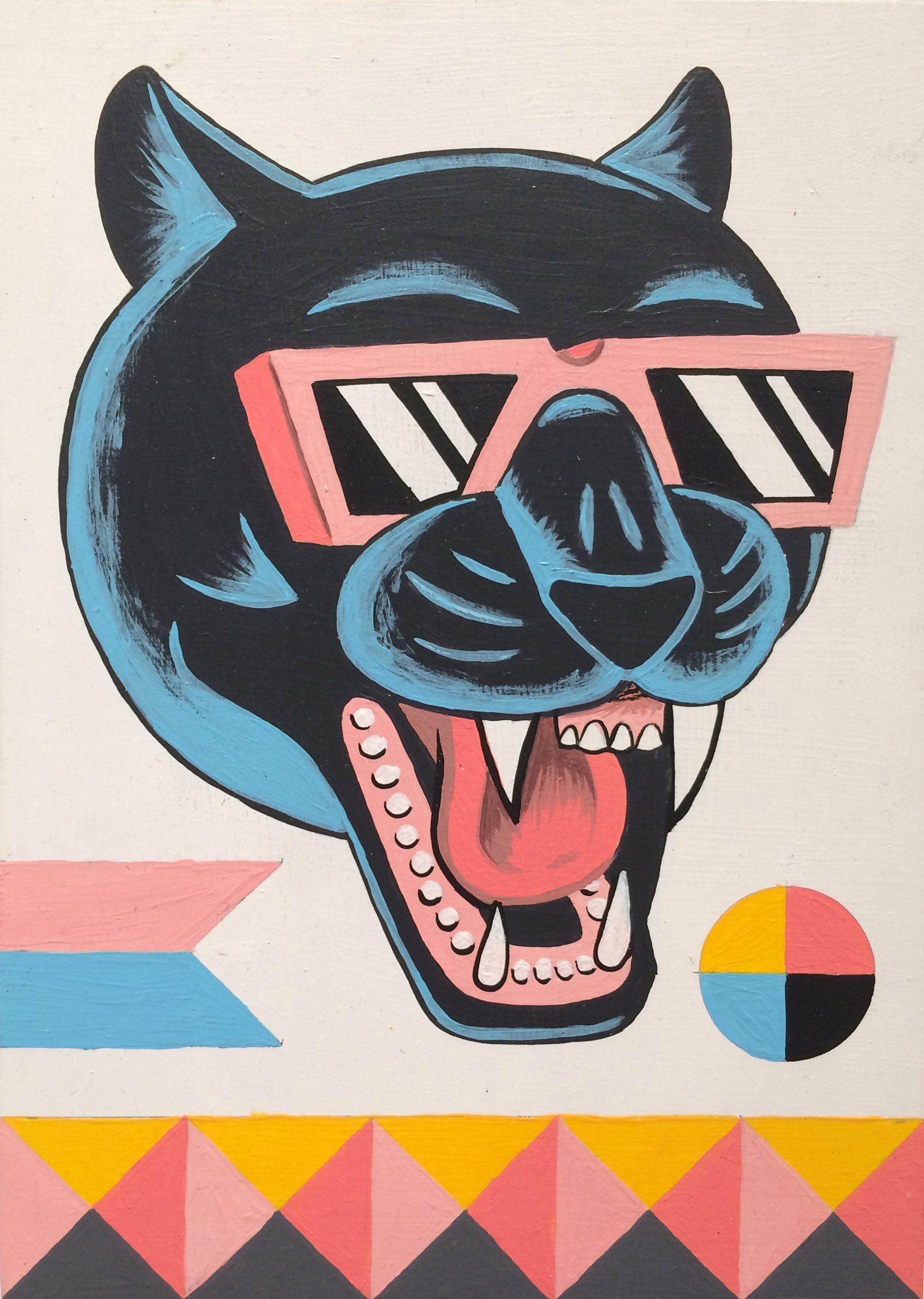 Luke Pelletier / Panther Party / 2014 / Acrylic on wood panel / 7 x 5 inches
