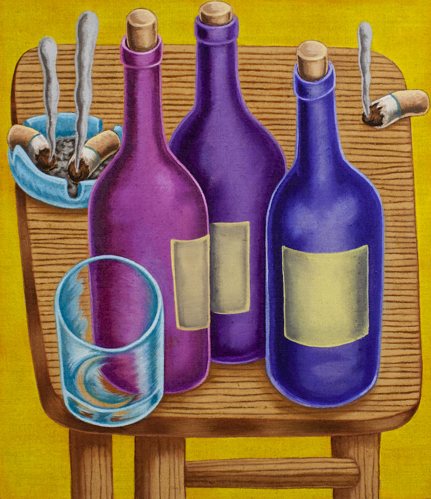 Pedro Pedro / Wine Bottles / 2018 / Acrylic on canvas / 15 x 13 inches