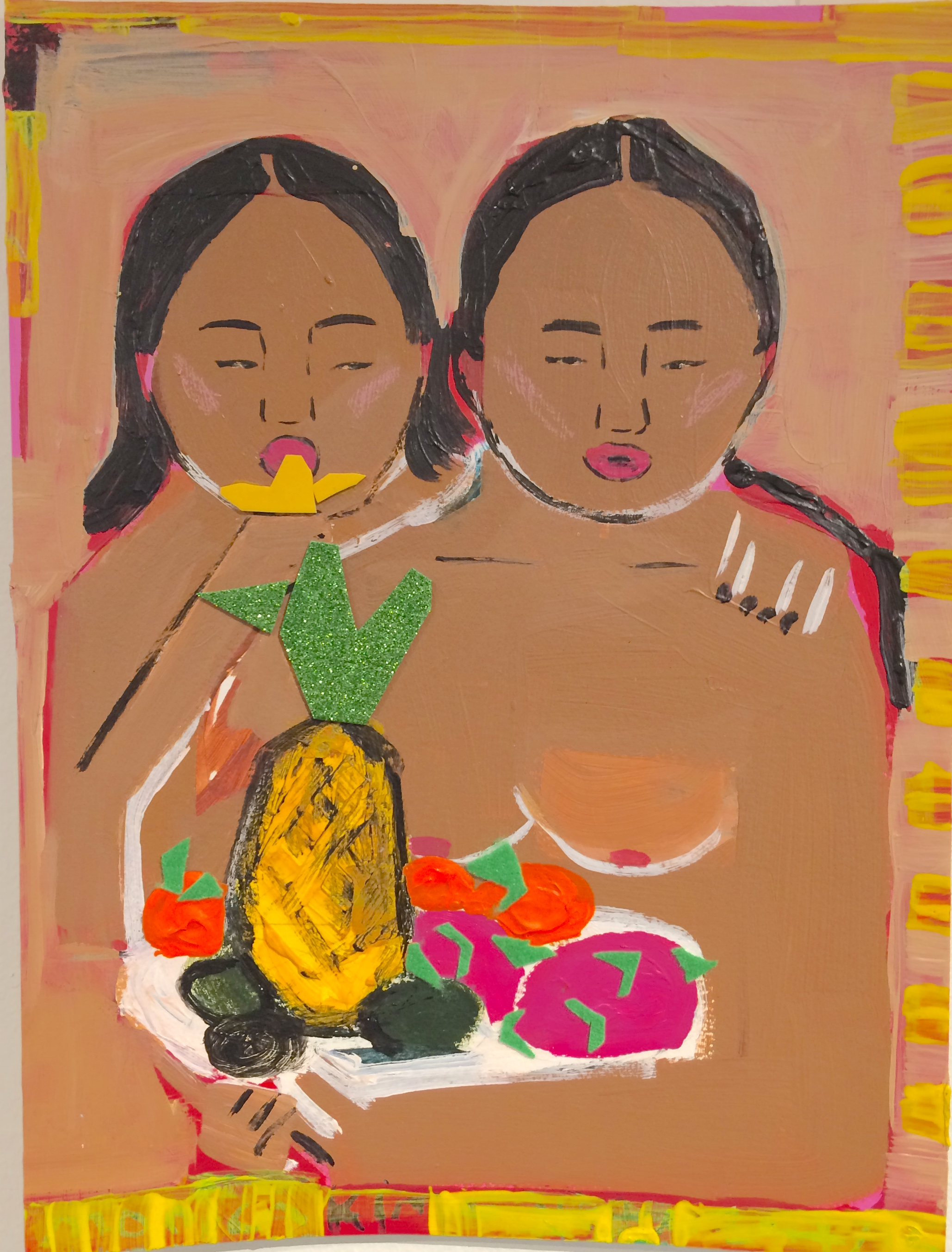 Monica Kim Garza / The Fruiters / 2018 / Acrylic on canvas / 16 x 12 inches