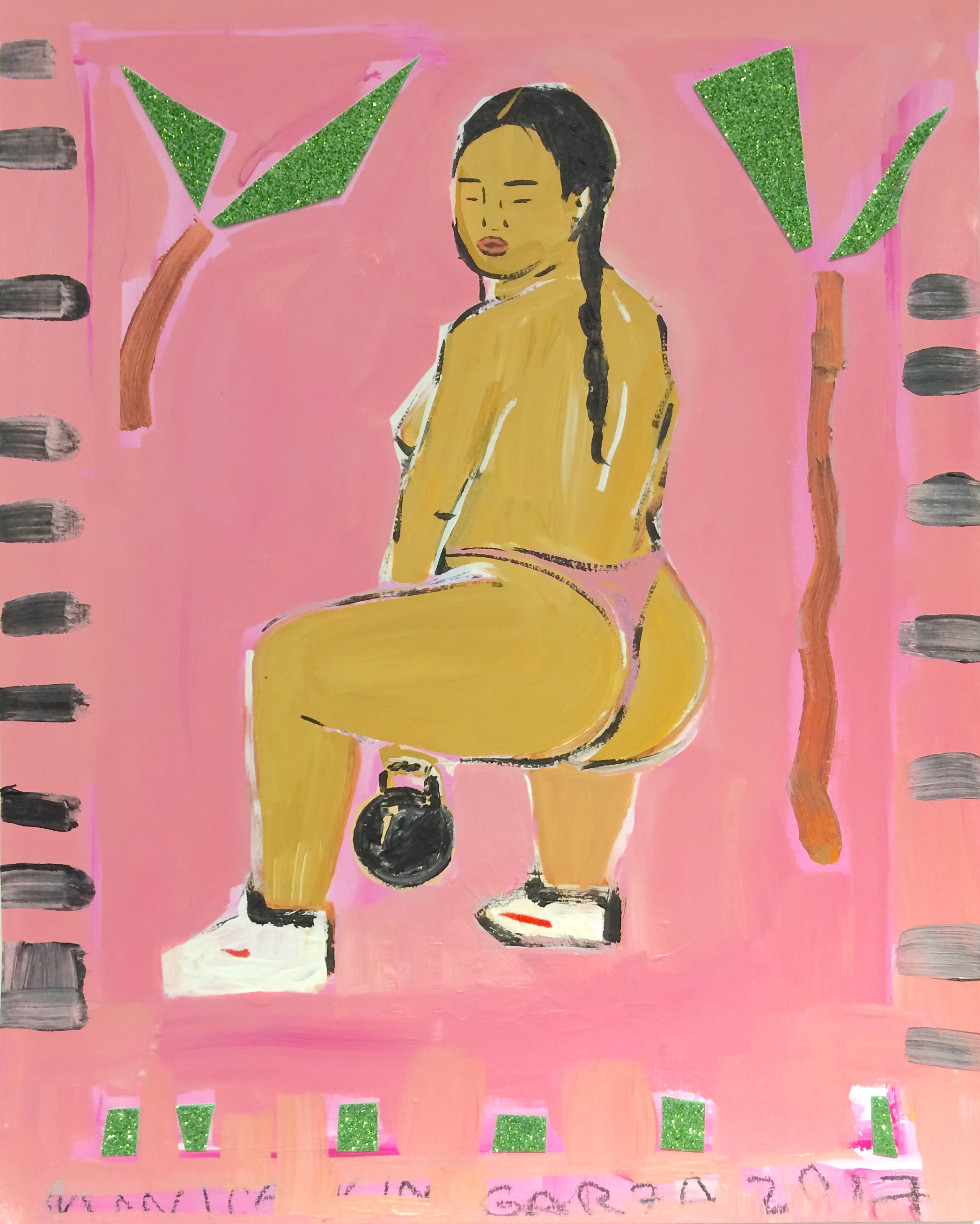 Monica Kim Garza / Kettle Ball Drop / 2018 / Acrylic on canvas / 20 x 15 inches