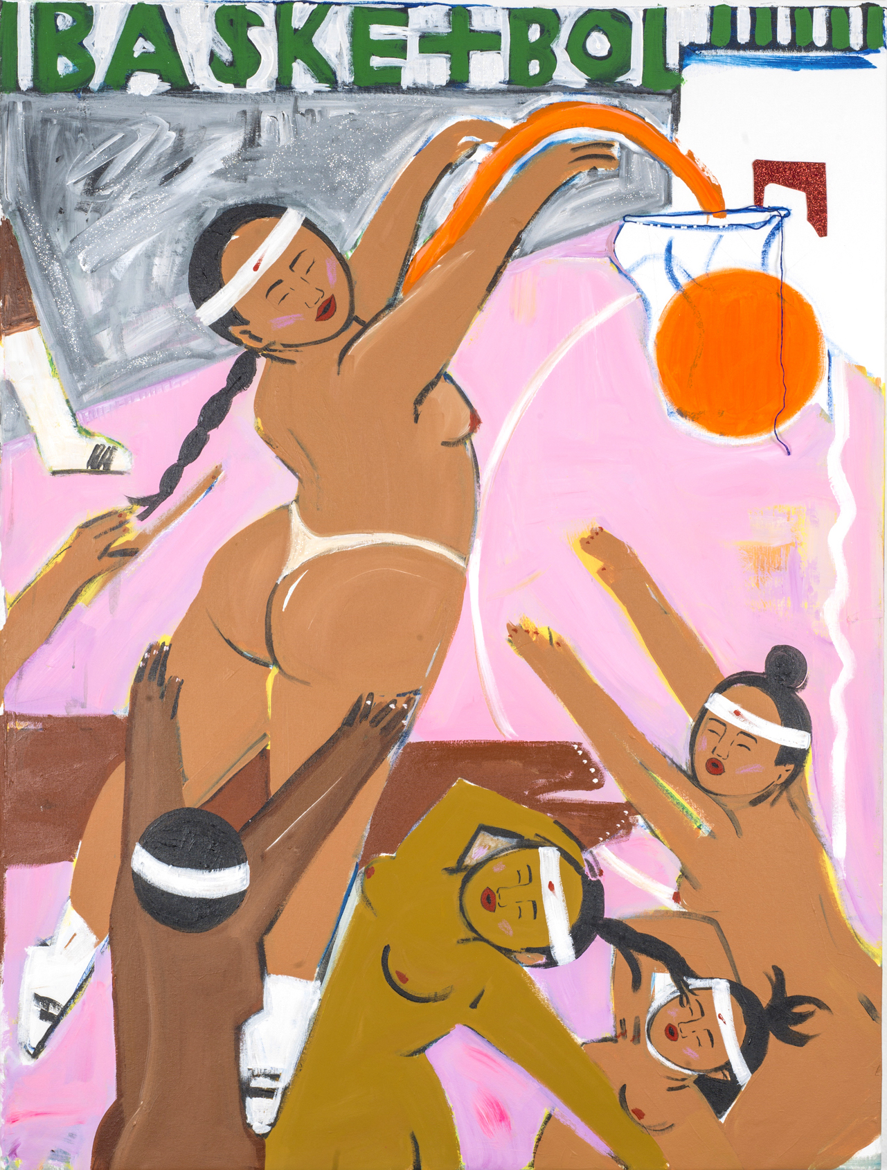 Monica Kim Garza / Basketbol #1 / 2017 / Acrylic on canvas / 48 x 36 inches