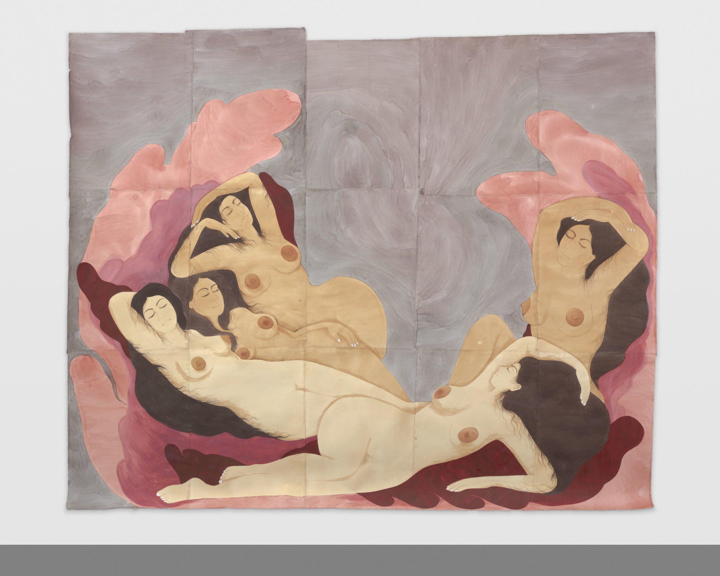 Hiba Schahbaz// Dreamers // Tea, watercolor and gouache on Twinrocker (handmade paper) // 105 x 87 Inches // 2018