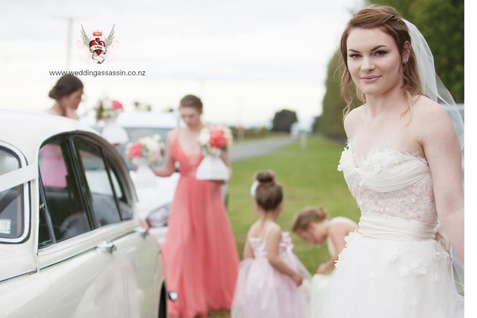 Zia - silk satin crepe, silk duchess, beaded applique lace - Christchurch Bridal, Wedding Assassins Photography