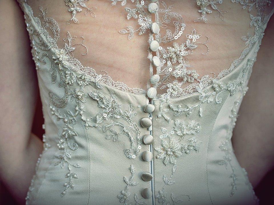 v - silk satin crepe, beaded lace, antique lace trims - Marlborough Bride