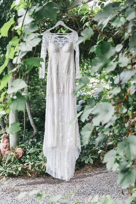 Bex - silk satin crepe, emroidered applique tulle - North Canterbury