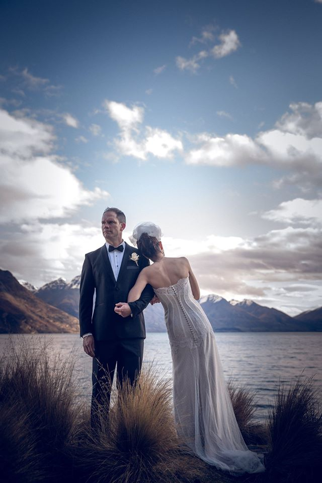 Candice - silk satin crepe, hailspot tulle, vintage tulle - Queenstown Bridal Holly Wallace Photography