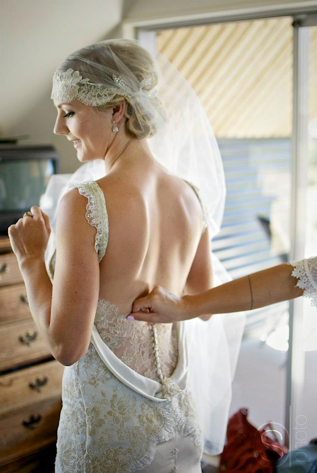 Eve - pure silk charmeuse, french lace, beaded trim - Mt Cook bride - Sarah Drummond Photography