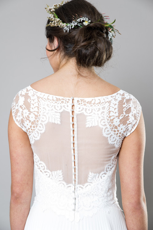 The show-stopping back of the beautiful Rosella gown by Sally Eagle.