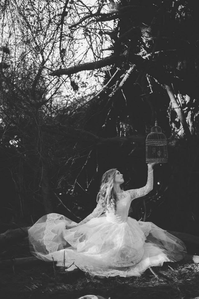 model wears vintage 50s gown - forest styled shoot - Johanna Macdonald Photography