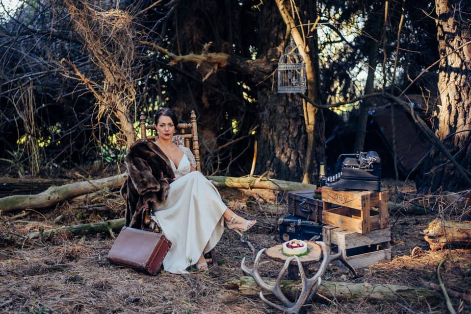 Holly wears vintage Gwendolynne gown - styled forest shoot - North Canterbury bride - Johanna Macdonald Photography