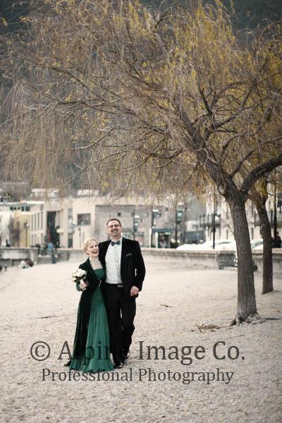 Libby - restored vintage silk gown, silk velvet coat - Queenstown bride - Alpine Images Photography