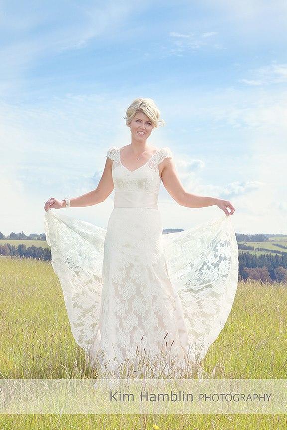 A- satin crepe, corded lace - North Canterbury bride - Kim Hamblin Photography