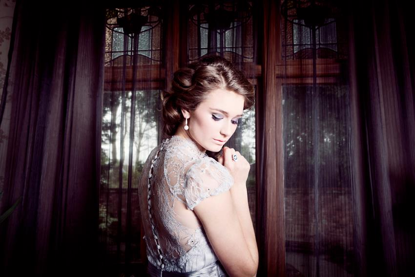Madison wears custom sample - silk satin crepe, silk chiffon, french lace - styled shoot - Petra Mingneau Photography