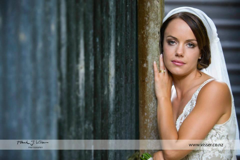 Helen - silk satin crepe, beaded lace - Christchurch Bride - Frank Visser Photograhy
