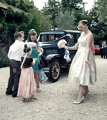 Rosemary - silk duchess, applique lace - Christchurch Bride - friend photograph