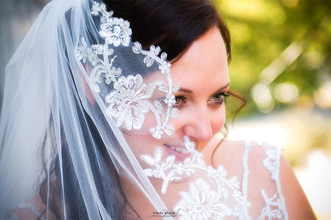anna - silk satin crepe, corded lace, mantilla lace veil - christchurch wedding