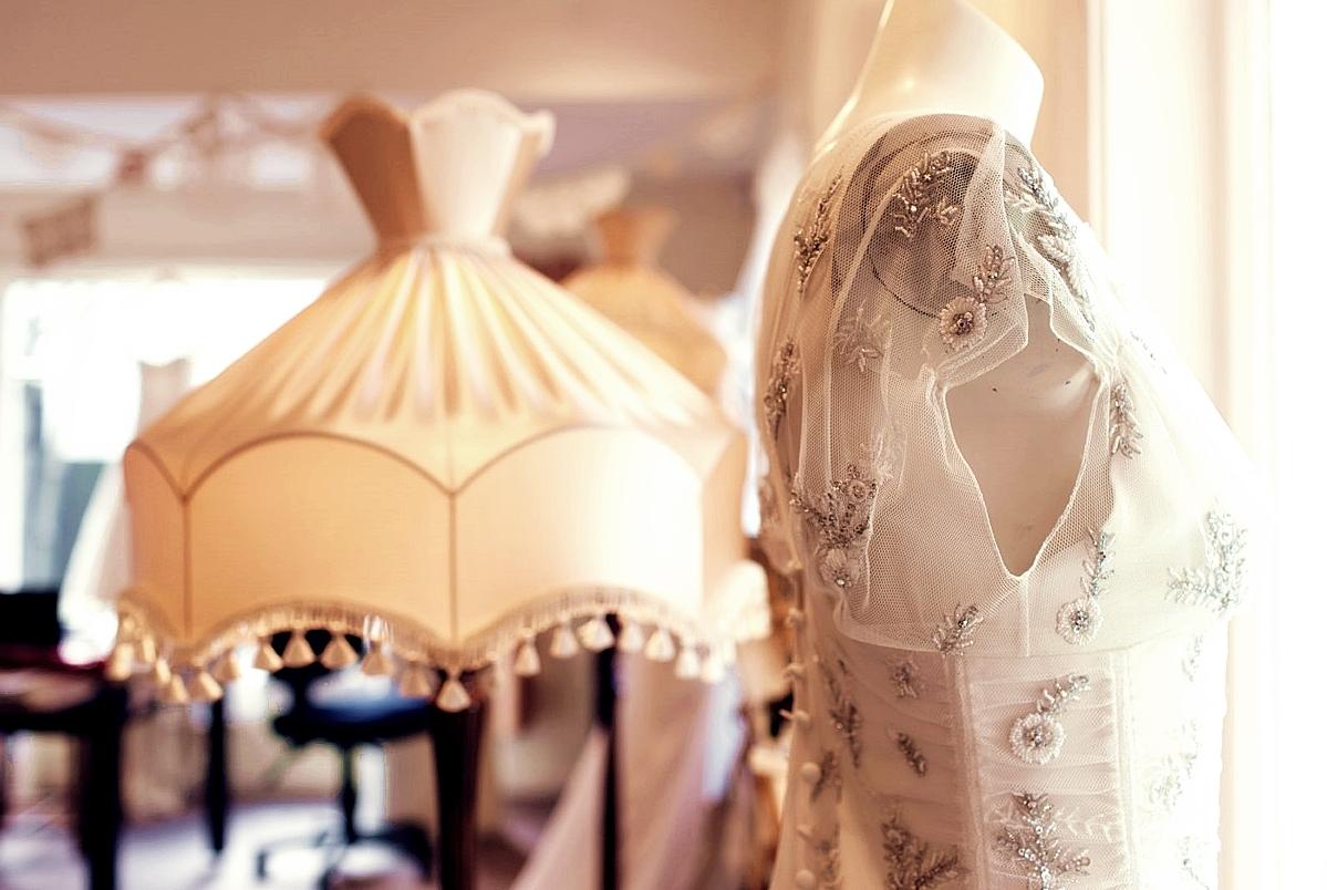 silk crepe, silk tulle, beaded trim - christchurch wedding - studio shot