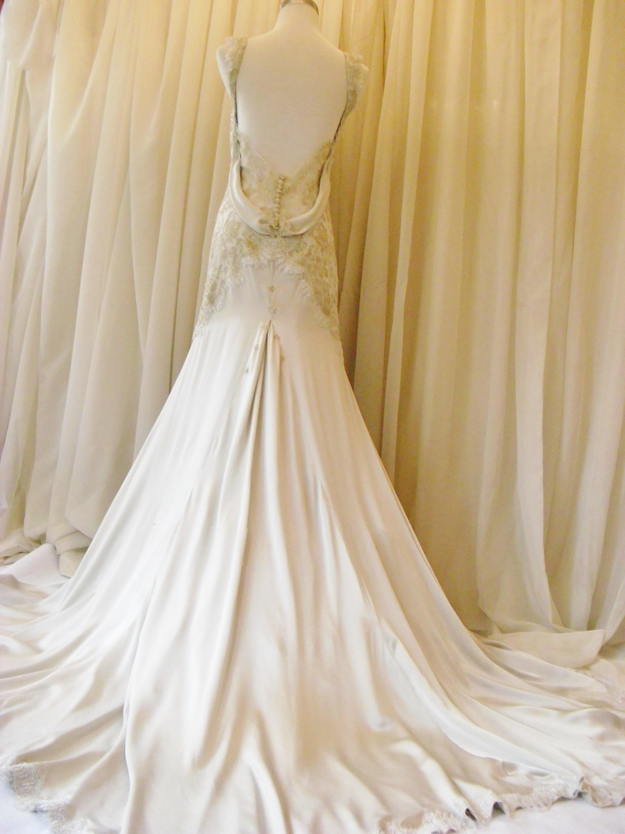 Eve - silk peau de soie, french lace - Tekapo wedding - studio shot