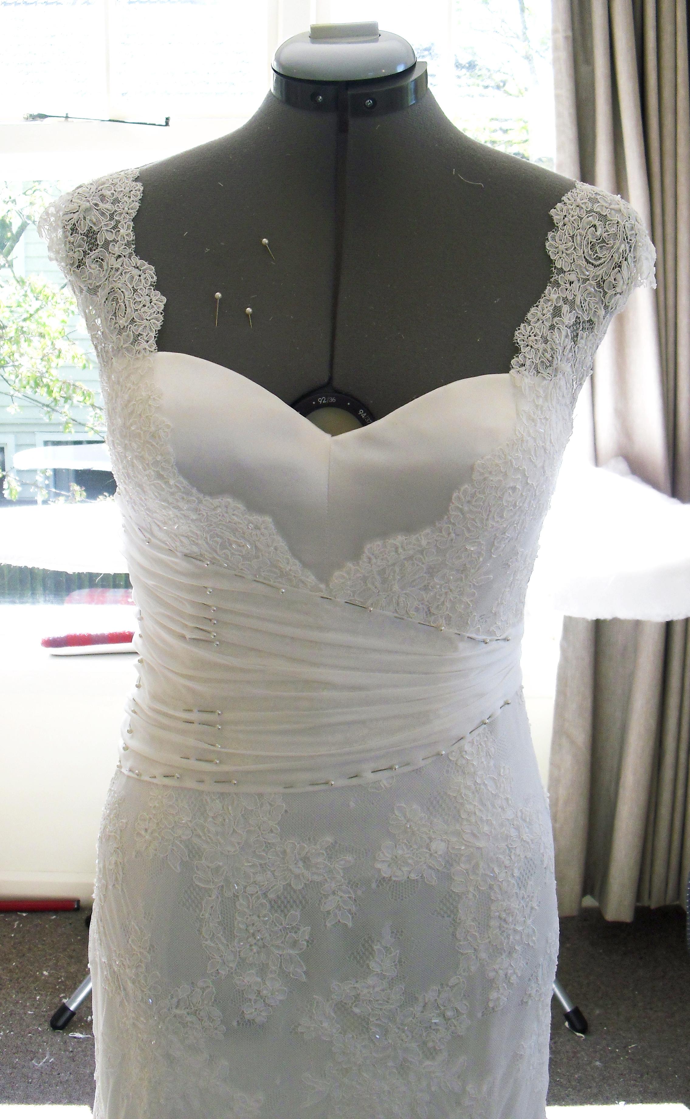 Amy - silk satin crepe, silk chiffon, corded lace - Christchurch wedding - studio shot