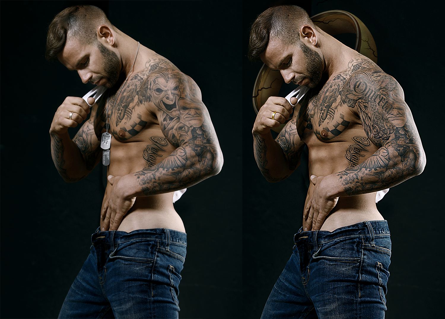 Hair retouching, dogtag removal, custom tattoos, jeans adjustment, sharpening & color correction, frequency separation, illustrated ring backdrop