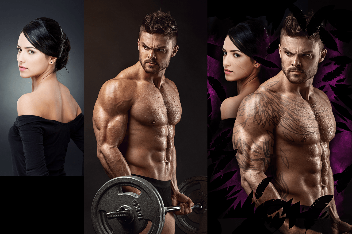 Photo merging, lighting correction, custom tattoos and scars, arm extension, stylized background