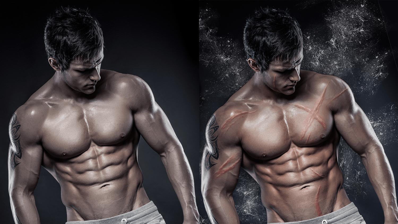 Color balancing, custom scars, muscle retouching