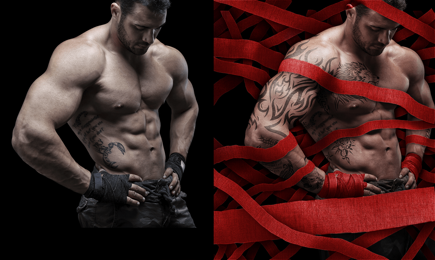 Color balancing, custom tattoos, frequency separation, hair retouching, illustrated cloth background