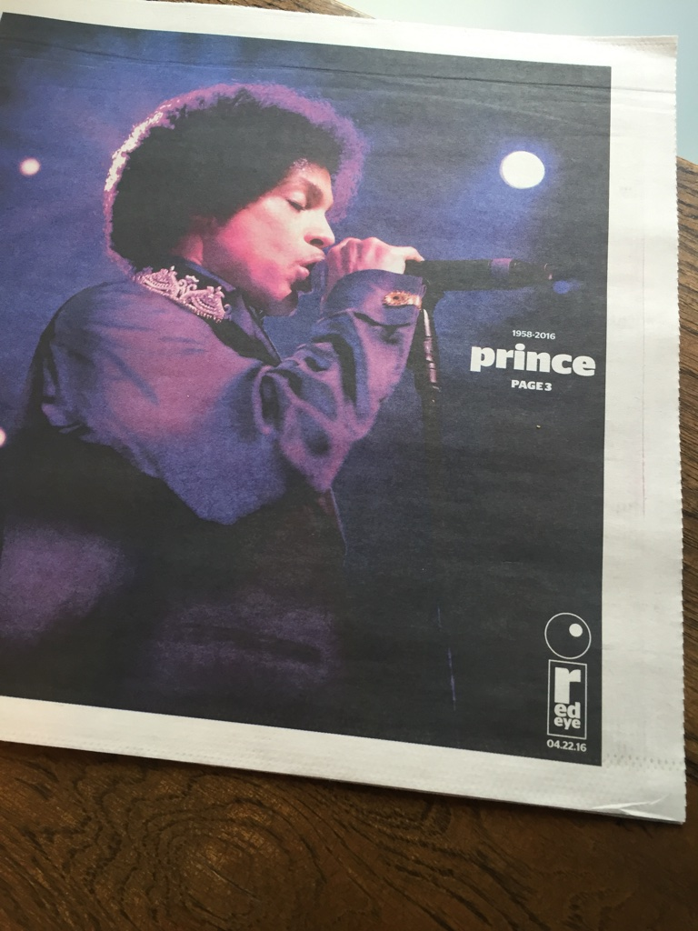 Chicago Red Eye cover the day after Prince's untimely transition