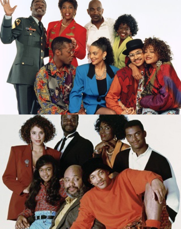 A picture of the cast from A Different World (above) (which showcased Black Excellence), and The Fresh Prince of Bel-Air (below)(which showcased Black Elitism)